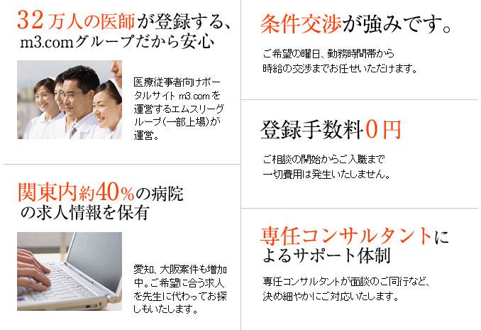 m3.comグループだから安心。関東内約40%の病院の求人情報を保有。条件交渉が強みです。登録手数料0円。専任コンサルタントによるサポート体制。